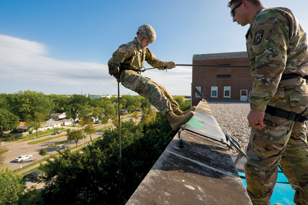 A+ROTC+cadet+rappels+down+the+wall+of+Columbia+Hall+on+Thursday%2C+September+21%2C+2017.