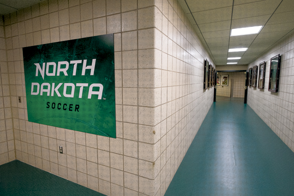 As UND soccer players enter the Ralph Engelstad Arena to go to their team locker room, this signage welcomes them to the facility. Nick Nelson/ Dakota Student