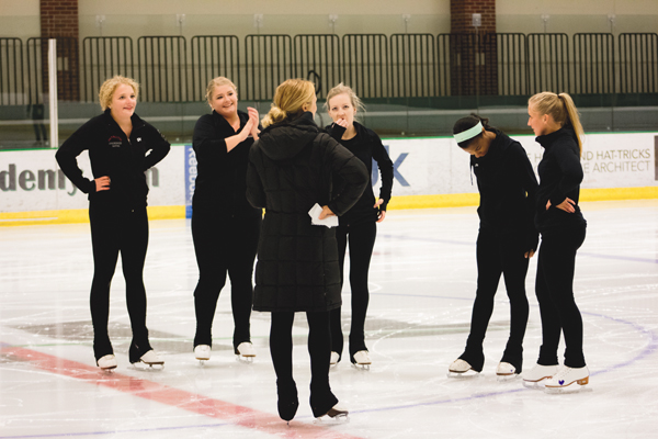 Skaters audition for Team North Dakota, a collegiate synchronized skating team, at the Olympic Arena in the Ralph Engelstad Arena on Thursday, Sept. 14, 2017.