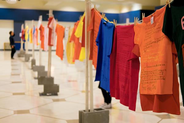 Open for viewing from October 23-27, 2017, the Clothesline Project displays t-shirts made by victims of abuse