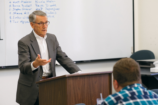 Adjunct accounting professor Mike Hendrickson speaks to students in his Accounting 494 course Thursday afternoon in Gamble Hall.