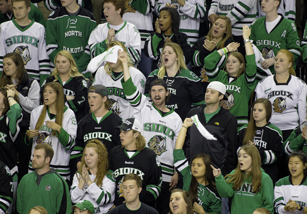 Fans+cheer+on+the+Fighting+Hawks+hockey+team+Friday+night+at+the+Ralph.