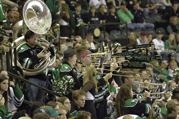 The+UND+Hockey+Band+performs+during+a+break+in+play+Friday+night+at+the+Ralph+Engelstad+Arena.