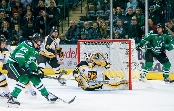 The Fighting Hawks take on Colorado College in a hockey road series on Friday and Saturday in Colorado Springs.