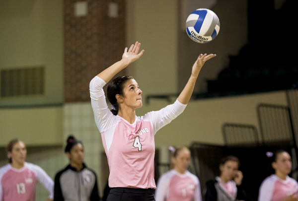 Senior UND setter Sydney Griffin serves in a game last season against Sacramento State at the Betty Engelstad Sioux Center.