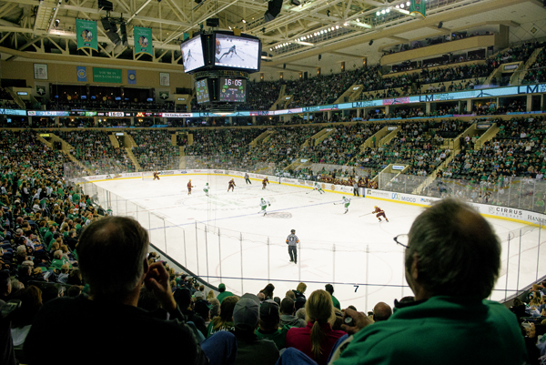Fans in the Ralph Engelstad Arena watch the UND Fighting Hawks take on the Minnesota Gophers on October 20, 2017 after waiting six seasons since the arch rivals last matchup.
