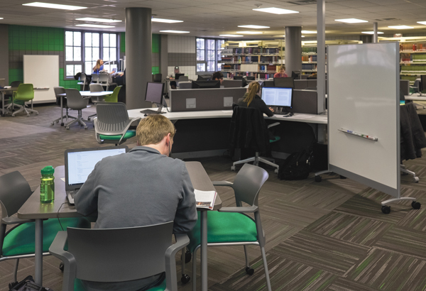UND students study in recently renovated spaces on the second floor of the Chester Fritz Library.