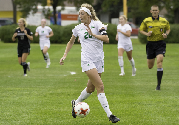 UND forward Katie Moller looks for an opening in a home soccer match against Idaho State earlier this season.