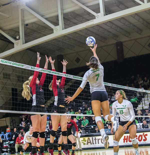 Senior outside hitter Tamara Merseli jumps for a shot earlier this season at the Betty Engelstad Sioux Center.