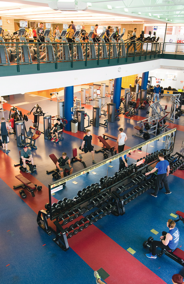 UND students, faculty and staff exercise on both levels of the Wellness Center in November of last year.