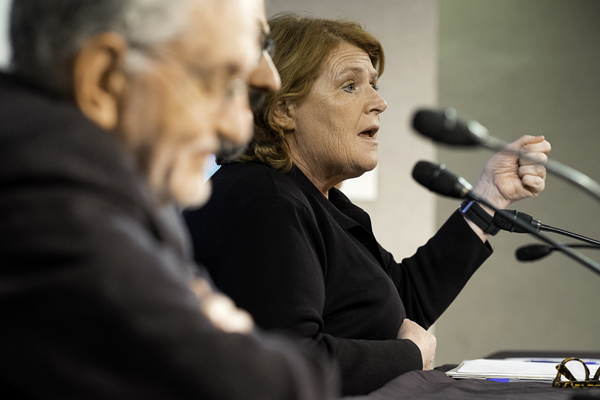 Senator Heidi Heitkamp speaks as part of a discussion panel of the