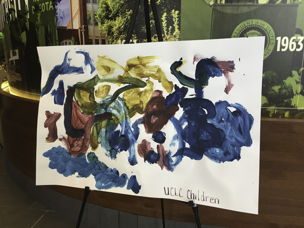 Art made by children at the University Children's Learning Center was on display at the Gorecki Alumni Center for Martin Luther King Day on Monday, January 15, 2018.