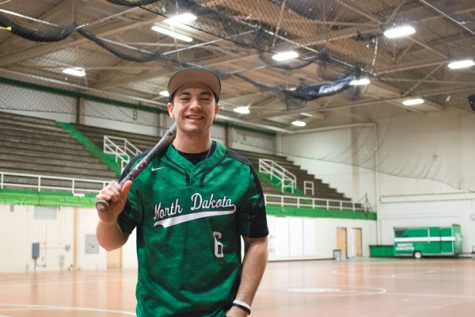Trevor Dufner, UND club baseball team captain and president, stands for a portrait in the Hyslop Sports Center.