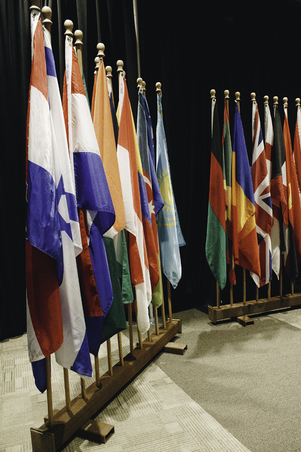 Flags from various countries were on display as part of the annual Feast of Nations at the Alerus Center on February 11, 2018.