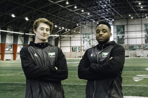 Hayden Galvin (left) and Lenny Nelson (right) recently transferred to the UND football program from junior colleges around the country.