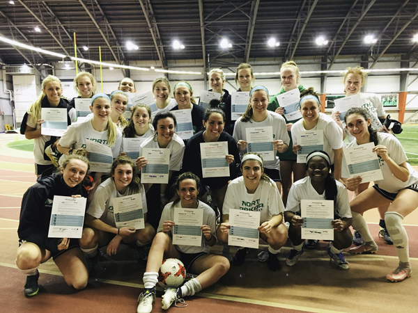 Members of the UND soccer team recently signed certificates for the 'Set The Expectation' pledge, which states that sexual assault and physical violence are never acceptable.