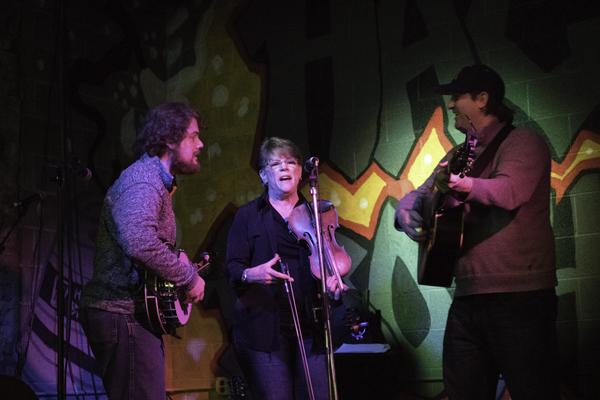 Michael Prewitt, Marcy Gross and Joe Andrus perform as The Flatt Mountain Bluegrass Boys during a concert Friday night at Half Brothers Brewing Company. Trevor Alveshere / Dakota Student