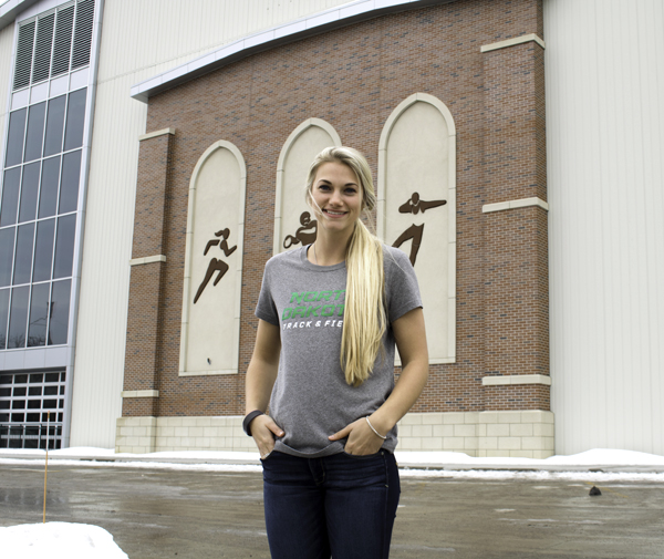 Kyley Foster is a pole vaulter on the UND indoor track and field team. Trevor Alveshere / Dakota Student