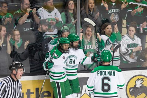 Women's hockey splits series with Huskies