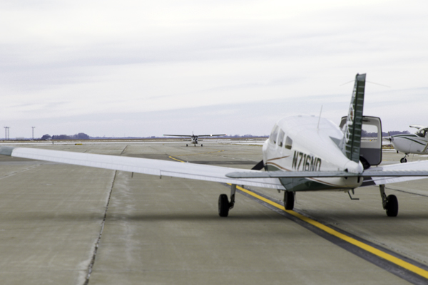 UND Aviation program airplanes sit parked on runways at Grand Forks International Airport (GFK) in November 2017.