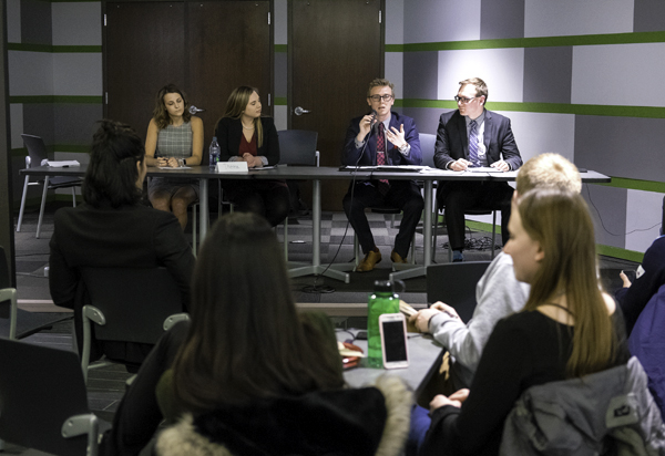 Student body president-vice president candidate team (from left) Abbie Morlock and Theresa Hanley join candidates Erik Hanson and Kaleb Dschaak in a forum at Wilkerson Commons on Wednesday, April 4, 2018.