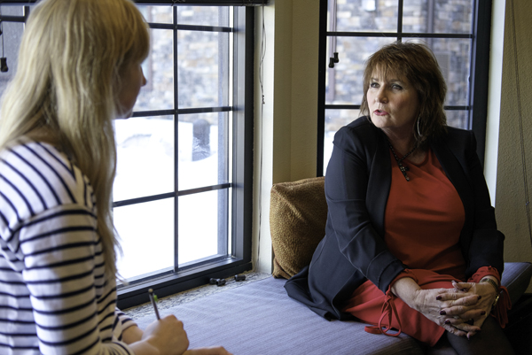 Medium Melinda Vail speaks with Dakota Student arts & community editor Devon Abler in an interview at the Staybridge Inn and Suites on Monday, April 9, 2018.