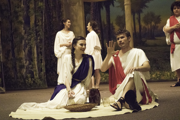Michael Thompson (right) and Bethany Loock portray Dido and Aeneas during a rehearsal for Friday night's opera at the Masonic Center.